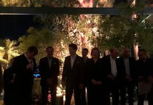 Paulo Marinho (à esquerda), João Doria, André Marinho, Bruno Araújo, Joice Hasselmann e Henrique Meirelles Foto: Jussara Soares
