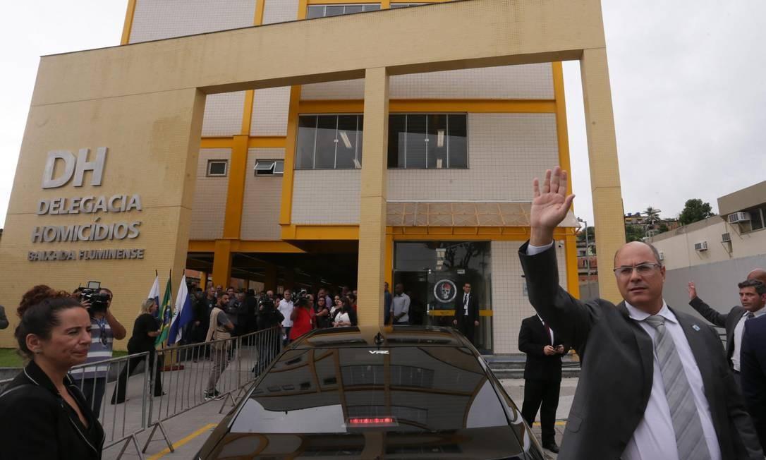 Governador Wilson Witzel inaugura a nova sede da Delegacia de Homicídios da Baixada Fluminense, em Belford Roxo Foto: Cléber Júnior / Agência O Globo