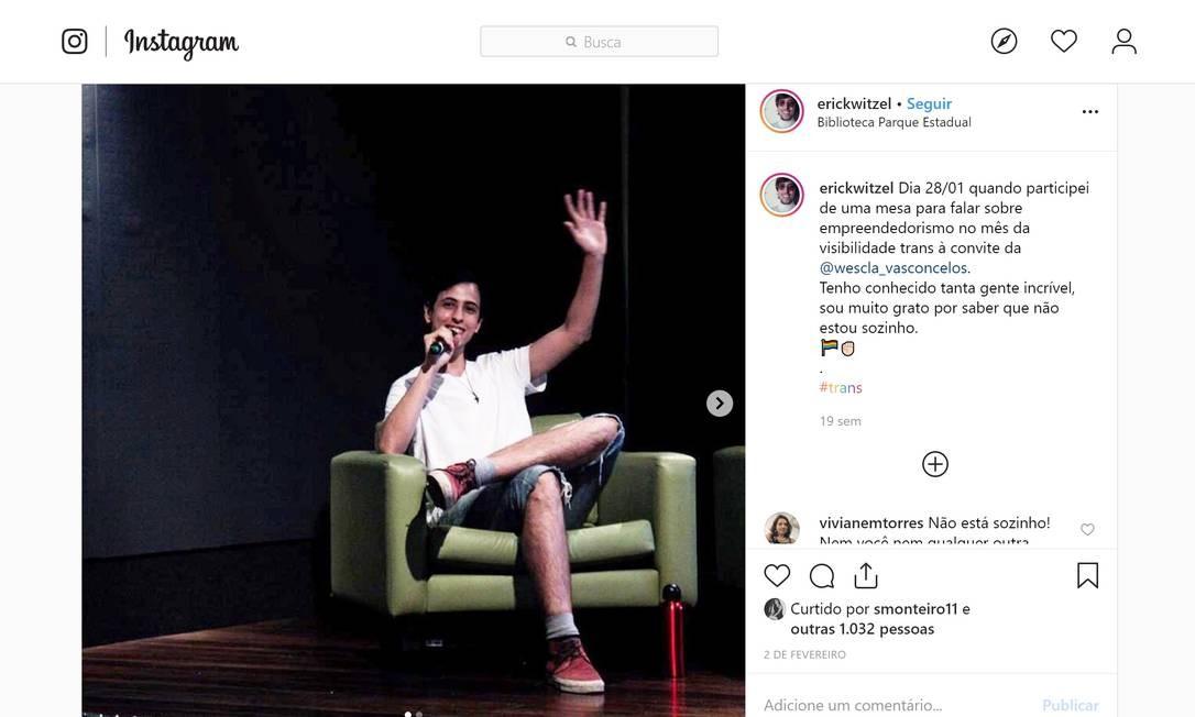 Erick em foto feita durante sua participação em um evento para falar sobre empreendedorismo, realizado em janeiro, mês da visibilidade trans Foto: Reprodução / Instagram