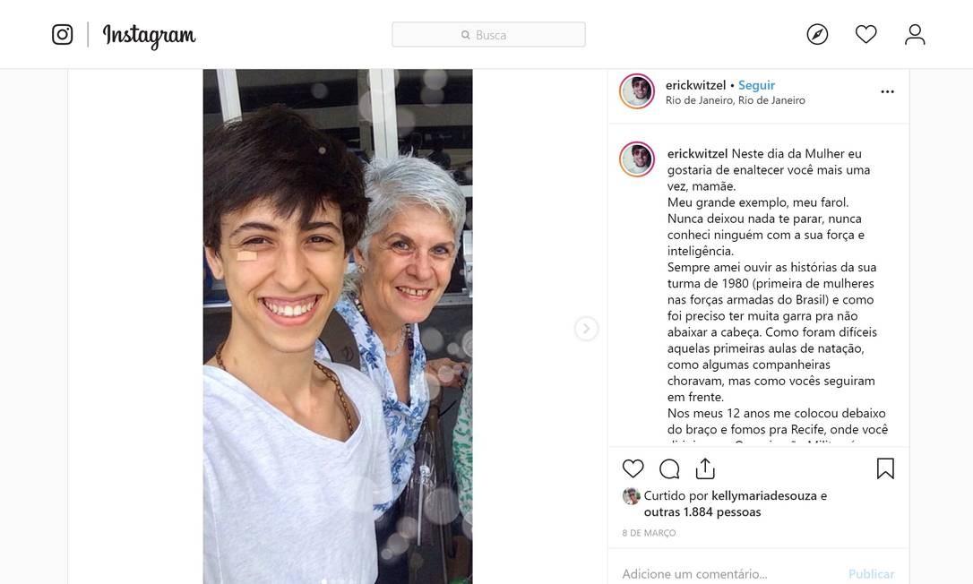 Postagem de Erick em que presta homenagem à sua mãe, no Dia Internacional da Mulher Foto: Reprodução / Instagram