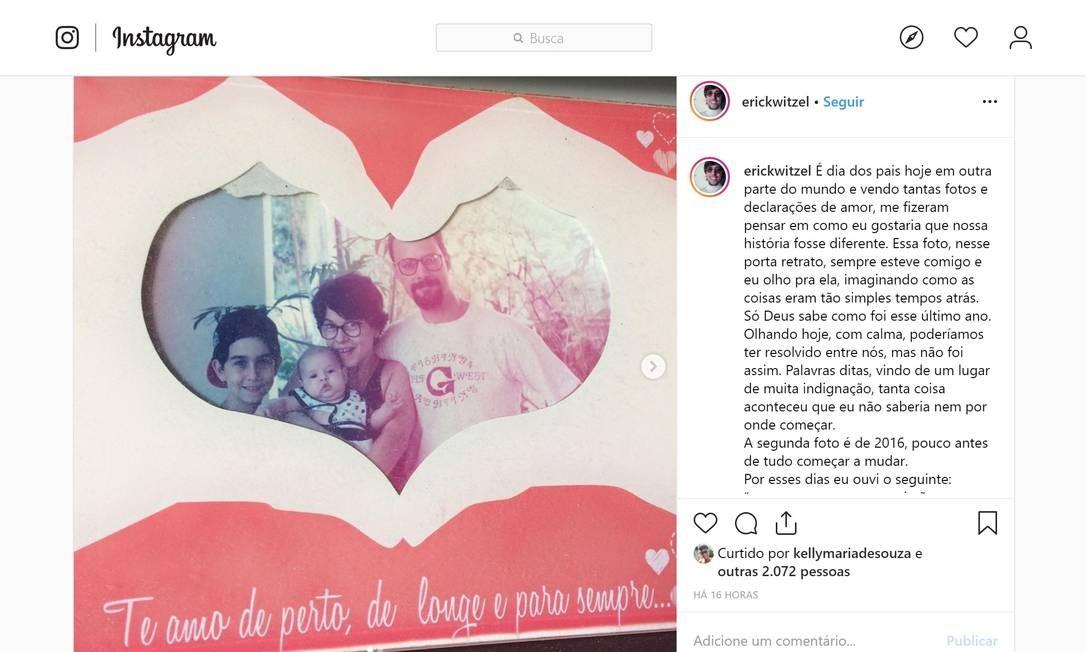 Recentemente, Erick usou sua rede social para aproveitar a comemoração do Dia dos Pais – no Reino Unido, nos EUA e em mais 85 países, a data é celebrada no terceiro domingo de junho – e levantar uma bandeira branca na relação entre eles Foto: Reprodução / Instagram
