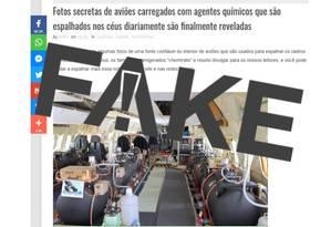 É #FAKE que fotos revelem projeto secreto em que aviões espalham produtos químicos nocivos à saúde Foto: Reprodução