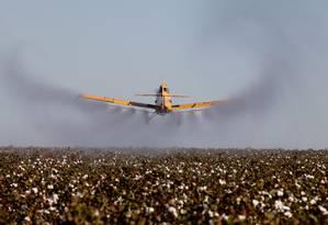 Avião pulverizador de agrotóxicos em lavouras de Campo Grande, Mato Grosso) Foto: Marcos Alves / Agência O Globo