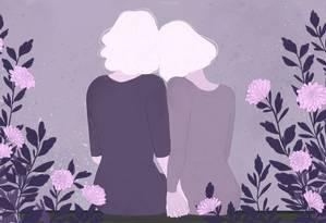 Na maturidade, mulheres encontram o amor com outras mulheres Foto: Arte de Nina Millen
