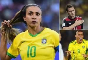 Marta ultrapassou Klose e Ronaldo no Mundial da França Foto: Reprodução