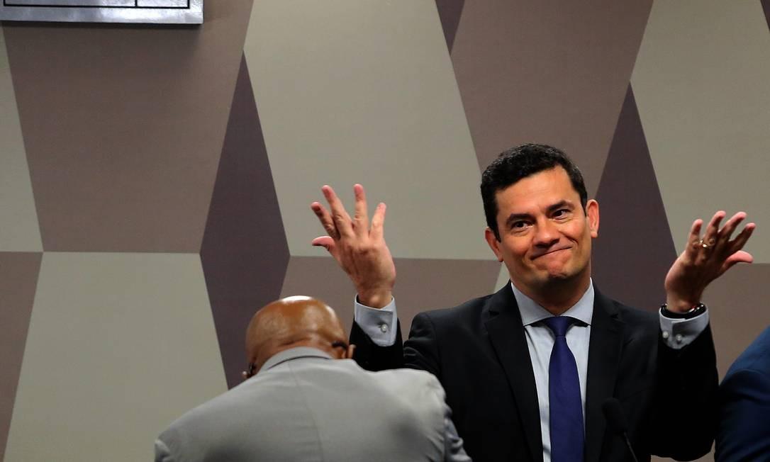 Sergio Moro em audiência na Comissão de Constituição e Justiça do Senado, onde afirmou não ter mais registro das mensagens com Dallagnol em seu celular Foto: Jorge William / Agência O Globo - 19/06/2019