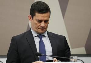 A comissão de Constituição e Justiça do Senado Federal ouve o ministro da Justiça, Sérgio Moro Foto: Jorge William / Agência O Globo