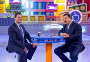 O ministro Sergio Moro é entrevistado no programa do Ratinho Foto: Gabriel Cardoso / SBT