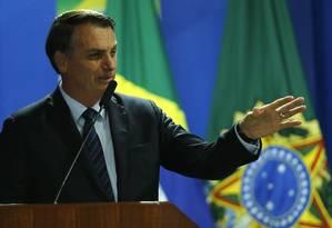 Presidente Jair Bolsonaro participa da Solenidade de Assinatura da MP para Confisco de Bens de Traficantes 17/06/2019 Foto: Jorge William / Agência O Globo
