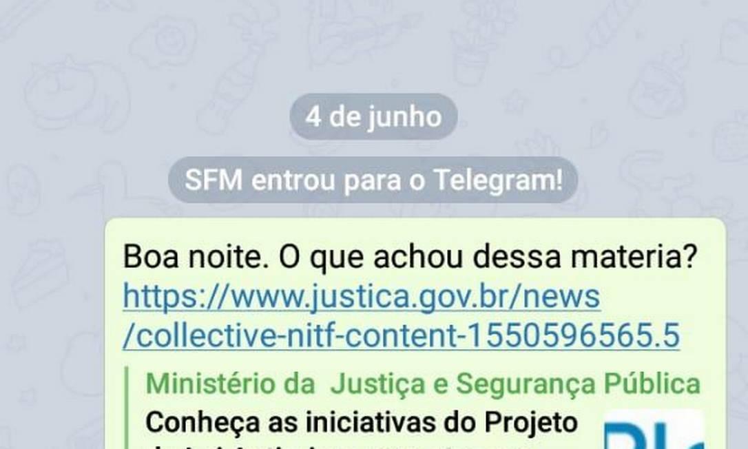 Hacker se passou por Sergio Moro em aplicativo Telegram Foto: Reprodução