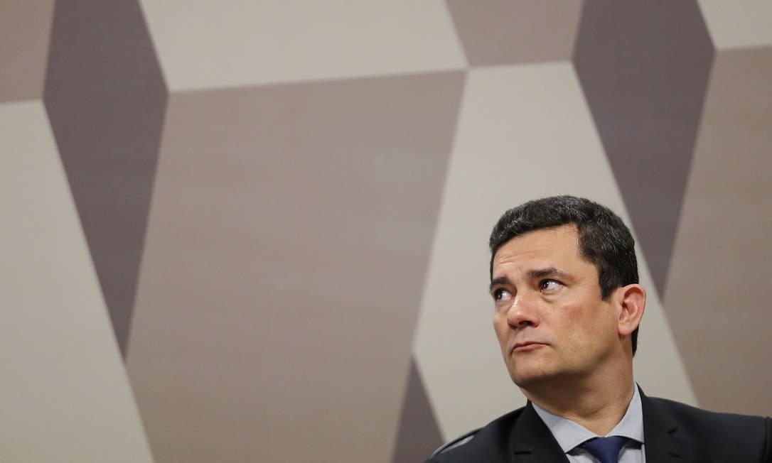 No Senado, Sergio Moro não reconhece a autenticidade dos diálogos divulgados por site Foto: Jorge William / Agência O Globo