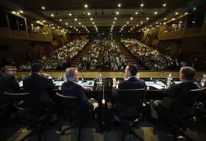 Ex-presidentes do BNDES em ato na sede do banco: Pio Borges, Luciano Coutinho, Paulo Rabello e Dyogo Oliveira (da dir. para a esq.) Foto: Antonio Scorza / Antonio Scorza