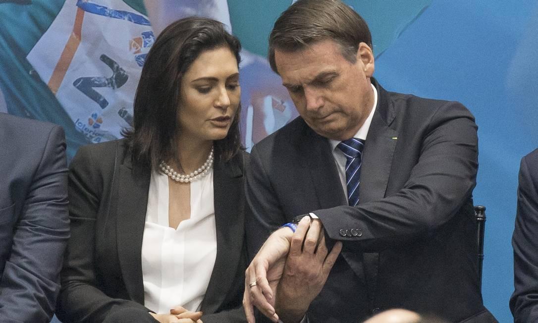 O presidente Jair Bolsonaro foi acompanhado pela primeira-dama Michele Bolsonaro em agenda no Comitê Paralímpico Brasileiro Foto: Edilson Dantas / Agência O Globo