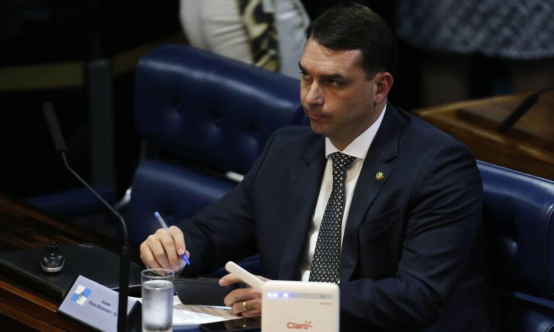 O senador Flávio Bolsonaro (PSL-RJ), filho do presidente Jair Bolsonaro Foto: Jorge William / Agência O Globo