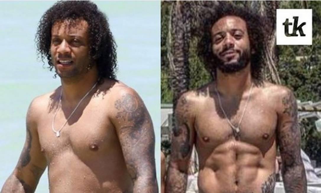 Marcelo, de férias, em 2016, e atualmente Foto: Reprodução