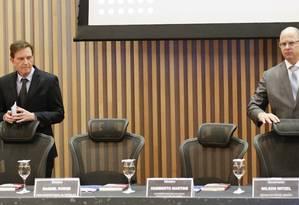 Em um Seminário contra a corrupção, no Museu do Amanhã, o governador Wilson Witzel e o prefeito Marcelo Crivella não se falaram o tempo todo Foto: Gabriel de Paiva / Agência O Globo