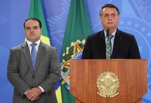 Bolsonaro e o novo ministro da Secretaria-Geral da Presidência, Jorge Antonio de Oliveira Francisco Foto: Marcos Correa/ Divulgação