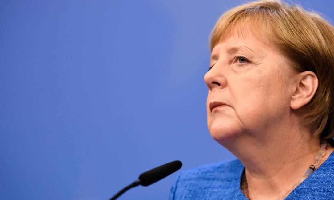 """A chanceler alemã, Angela Merkel, diz ver """"com grande preocupação a questão das ações do presidente brasileiro"""" Foto: PIROSCHKA VAN DE WOUW/REUTERS/21-6-2019"""