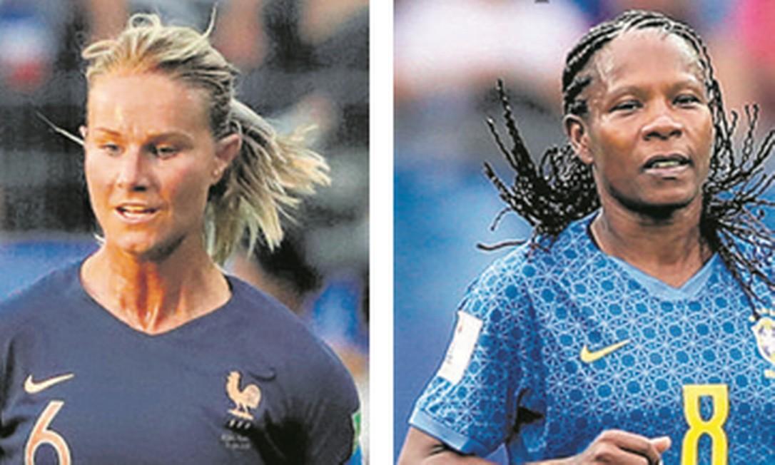Amadine Henry e Formiga comandam o meio-campo em suas seleções Foto: Stephane Mahe/Reuters e Rener Pinheiro/MoWA Press