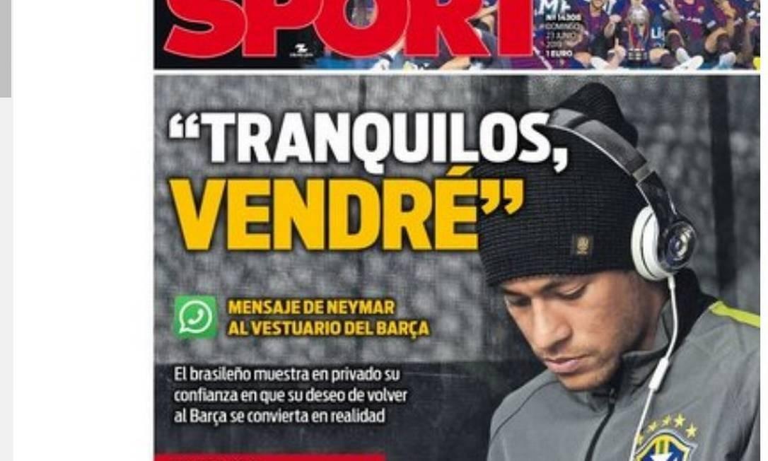 'Tranquilos, eu irei', disse Neymar a jogadores do Barcelona Foto: Reprodução