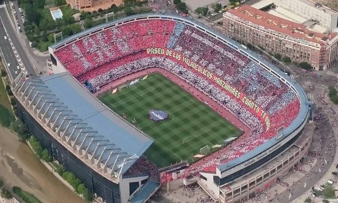 Substituído pelo Wanda Metropolitano, nova casa do Atlético de Madri, estádio Vicente Calderón foi demolido em 2019 Foto: Dvilgação / Twitter Atlético de Madri