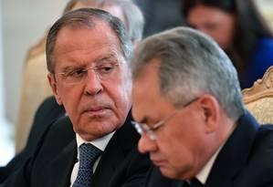 O chanceler russo Sergei Lavrov foi um dos principais articuladores para o retorno da Rússia ao Conselho da Europa. Durante a reunião ministerial, em maio, disse que o país não tinha intenção de deixar o Conselho, nem de desistir de suas obrigações financeiras Foto: YURI KADOBNOV / AFP