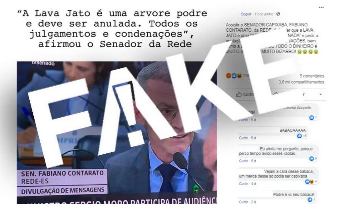 É #FAKE que senador Fabiano Contarato defendeu anulação de todos os julgamentos da Lava Jato Foto: Reprodução