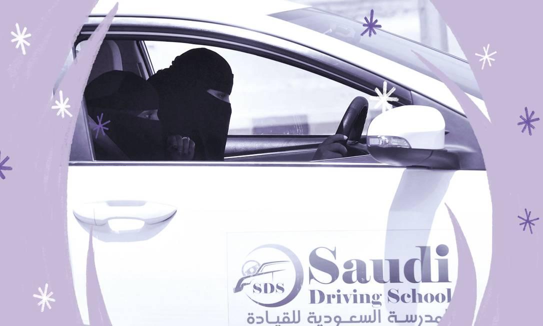 Motorista saudita faz aula em uma escola de direção em Riad, capital da Arábia Saudita. Mulheres possuem, desde o ano passado, o direito de dirigir no país, uma das poucas liberdades concedidas a elas Foto: Arte sobre foto de Fayez Nureldine/AFP
