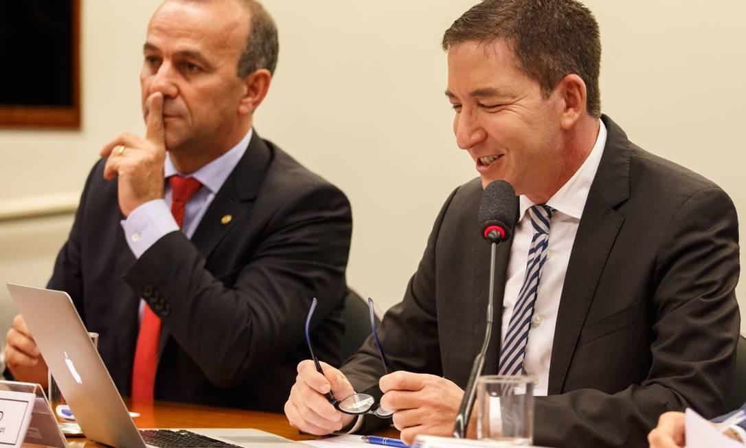 Durante a audiência na Câmara, Greenwald disse que ele e sua equipe de jornalistas não vão se intimidar diante de ameaças Foto: Daniel Marenco / Agência O Globo