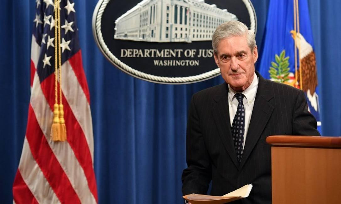 Mueller: depoimento no Congresso sobre relatório sobre a influência russa nas eleições de 2016 Foto: MANDEL NGAN / AFP