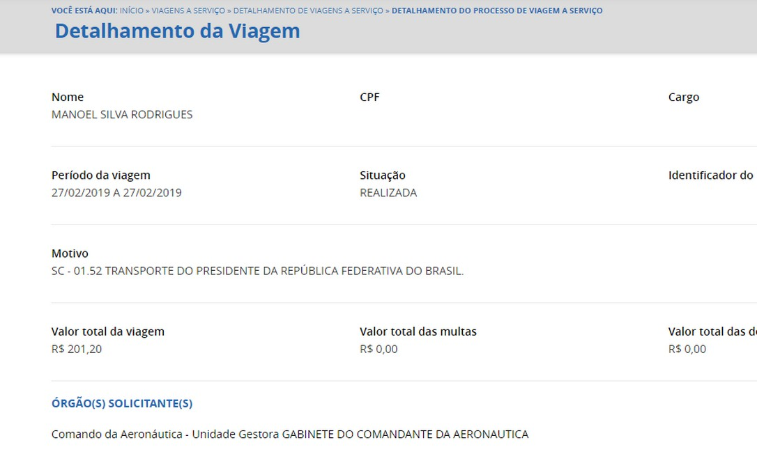 O segundo sargento Manoel Silva Rodrigues viajou com Bolsonaro em fevereiro para São Paulo. Foto: Reprodução