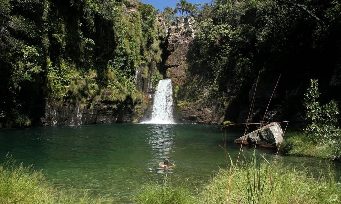Cachoeira Rei do Prata, uma das cachoeiras do Complexo do Prata, em Cavalcante, no Parque Nacional da Chapada dos Veadeiros Foto: Eduardo Vessoni
