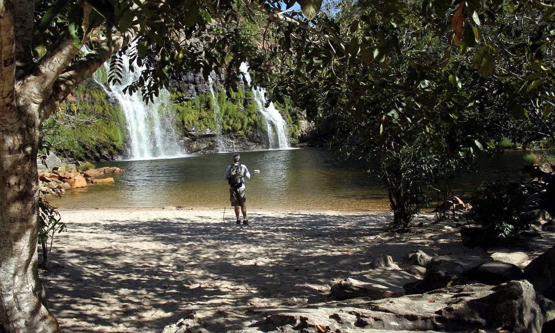 Cachoeira Poço Encantado, no interior do hotel Cachoeira Poço Encantado,em Teresina de Goiás, uma das cidades do Parque Nacional da Chapada dos Veadeiros Foto: Eduardo Vessoni