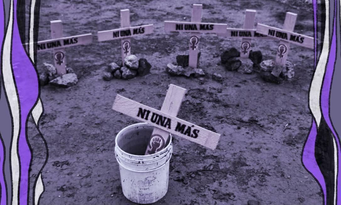 """Protesto em Ciudad Juarez, no México, traz cruzes representando as meninas e mulheres mortas por sua condição de gênero. O escrito """"Ni una más"""" (Nenhuma a mais, em português) clama para que não haja mais assassinatos Foto: Arte sobre foto da ONU"""
