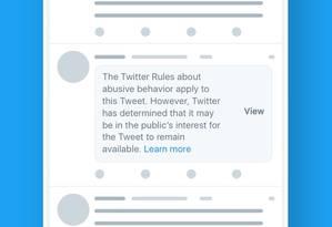 Aviso será colocado sobre tweets de políticos que violarem regras da comunidade Foto: DIVULGAÇÃO