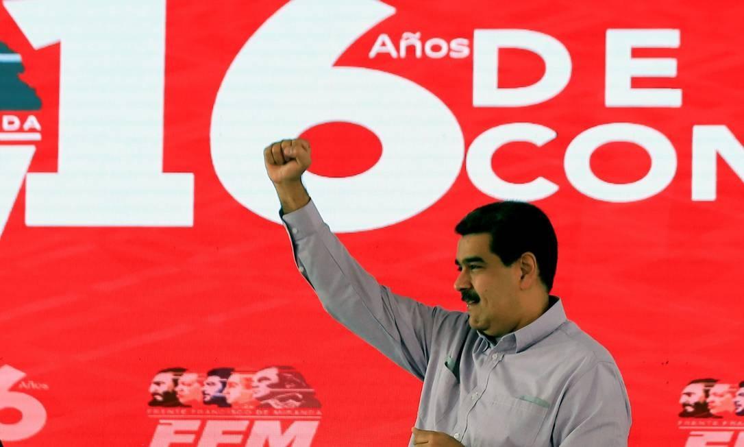 O presidente Nicolás Maduro durante comemoração no Palácio Miraflores, em Caracas: denúncia de tentativa de golpe fracassado Foto: HO / AFP