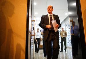 O ministro da Defesa, Fernando Azevedo e Silva, participou de coletivo sobre o caso do sargento preso com 39 quilos de cocaína Foto: Daniel Marenco / Agência O Globo