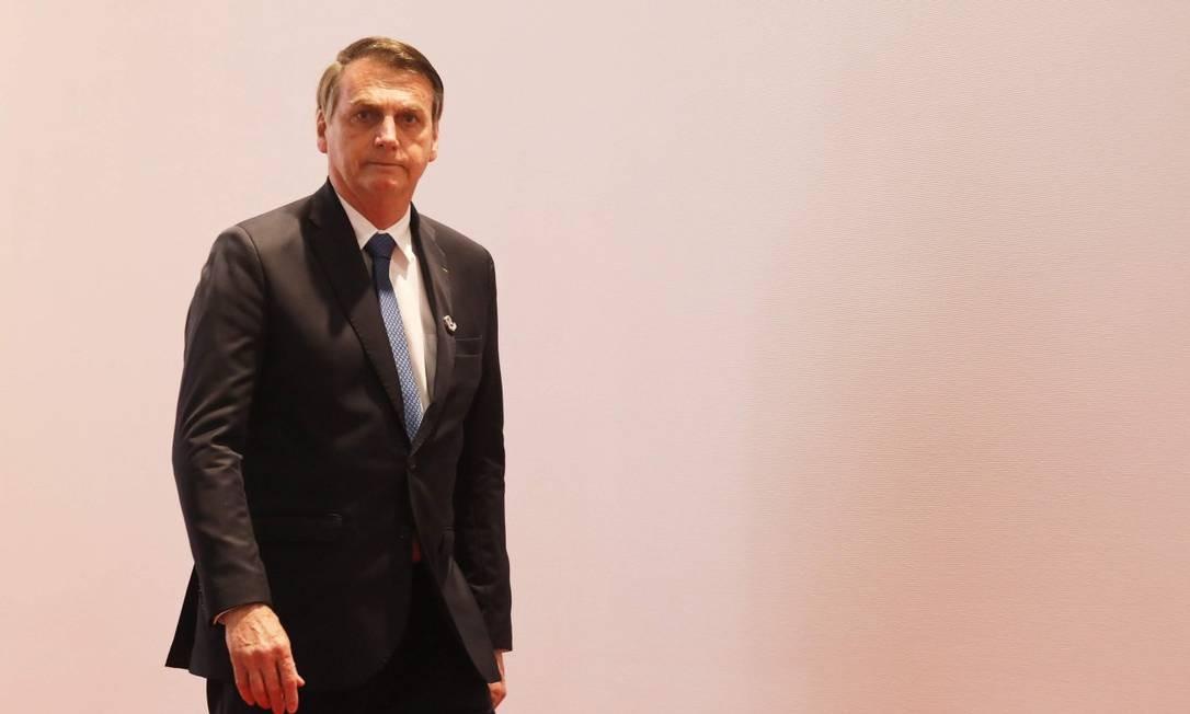 Presidente Bolsonaro em encontro do G-20 em Osaka Foto: LUDOVIC MARIN / AFP