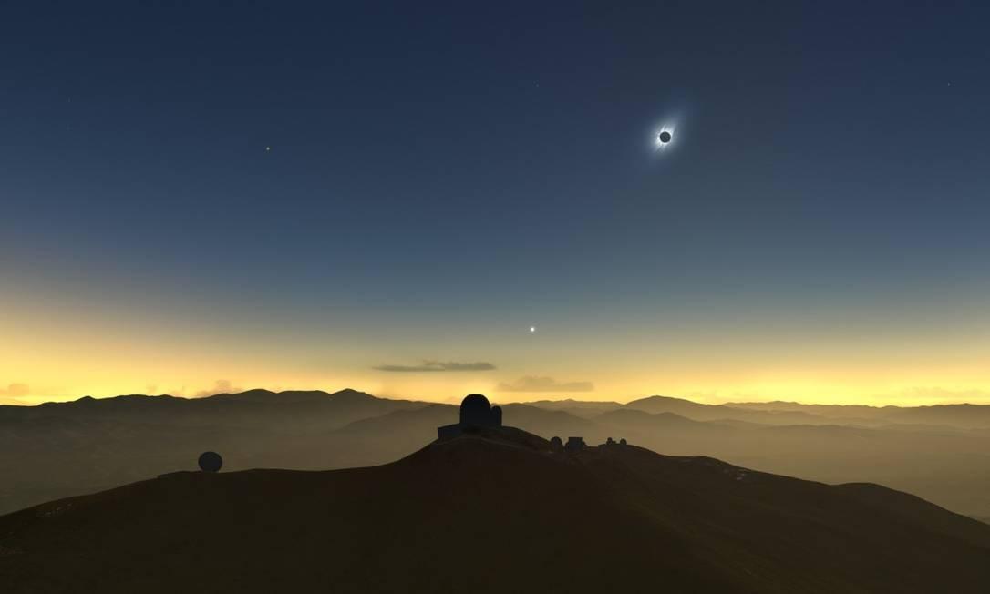 Ilustração do eclipse previsto que será observado no Chile Foto: M. Druckmüller, P. Aniol, K. Delcourte, P. Horálek, L. Calçada/ESO
