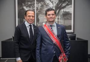 Ministro Sergio Moro é homenageado pelo governador de SP Foto: Divulgação