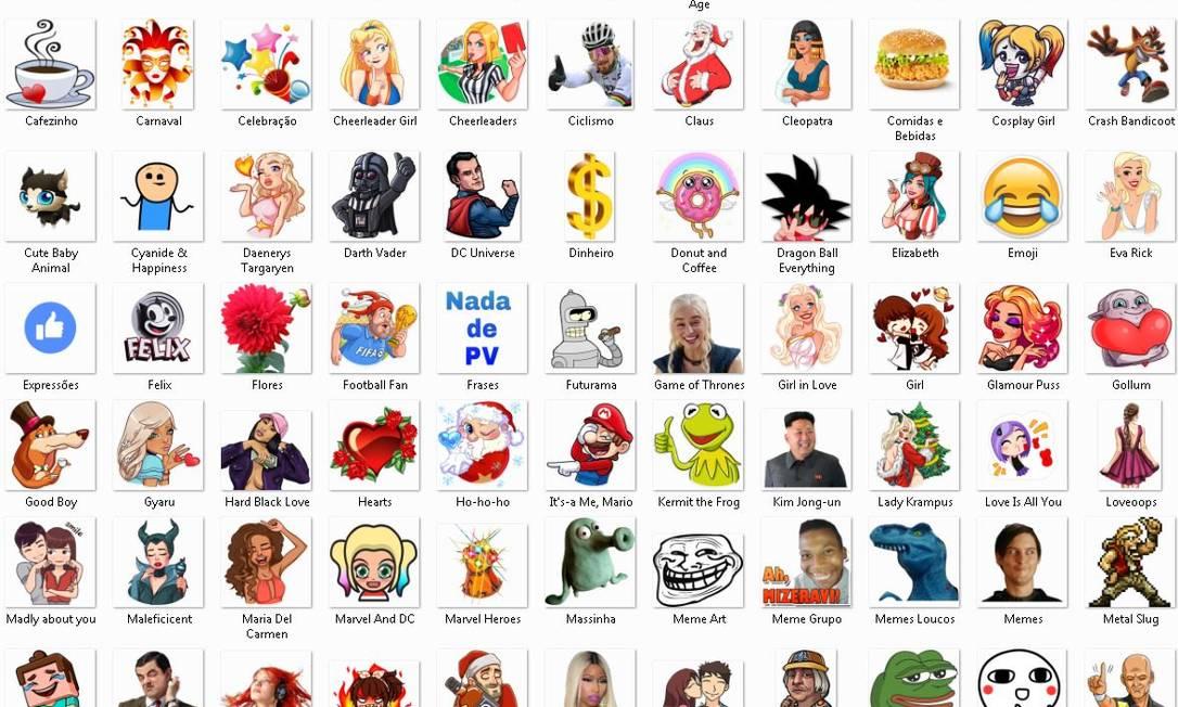 Coleção de stickers à venda no site Mercado Livre Foto: Reprodução