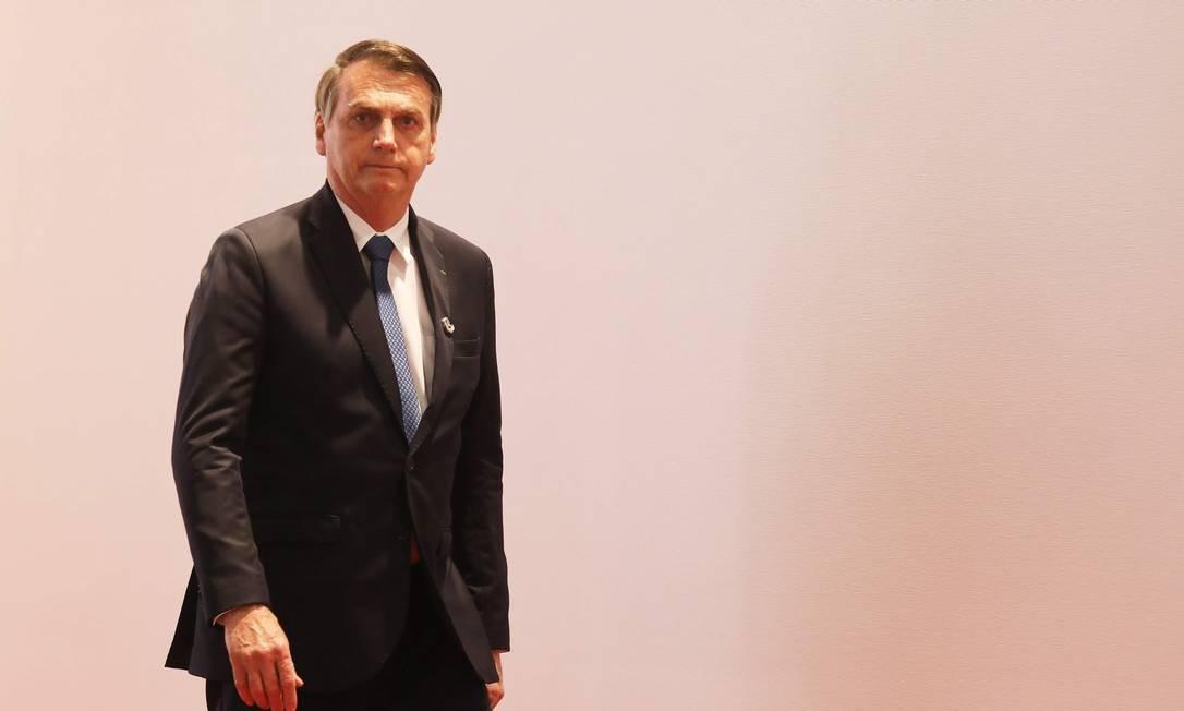 O presidente Jair Bolsonaro em Osaka, no Japão Foto: Ludovic Marin / AFP