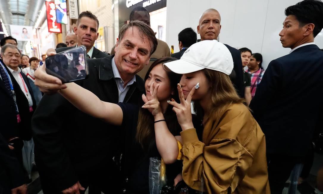 O presidente Jair Bolsonaro durante durante passeio pela cidade de Osaka Foto: Alan Santos / PR / Agência O Globo