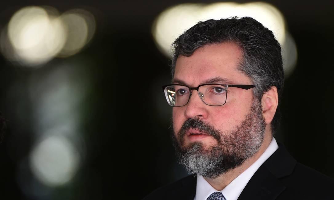 O ministro de Relações Exteriores do Brasil, Ernesto Araújo: após acordo entre UE e Mercosul, Brasil busca outros acordos Foto: EVARISTO SA / AFP