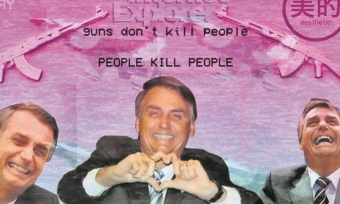 Montagem mostra uma frase sobre armas e é reproduzida no YouTube ao som de falas de Bolsonaro Foto: Reprodução