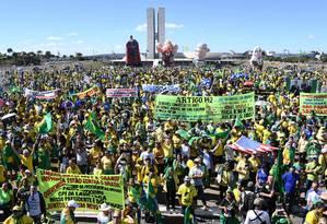 Ato em apoio ao governo Bolsonaro, à Lava-Jato e ao ministro Sergio Moro, em Brasília Foto: EVARISTO SA / AFP