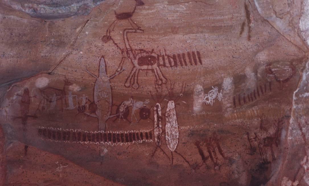 Pinturas rupestres na Serra da Capivara, Piauí. Registros da presença do homem com até 29 mil anos de existência Foto: Divulgação
