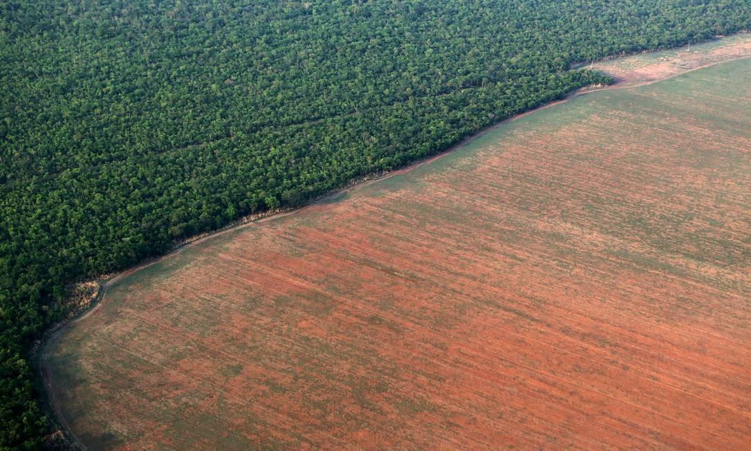 Área desmatada na Amazônia Legal, no estado do Mato Grosso, em foto de outubro de 2015 Foto: Paulo Whitaker / Agência O Globo