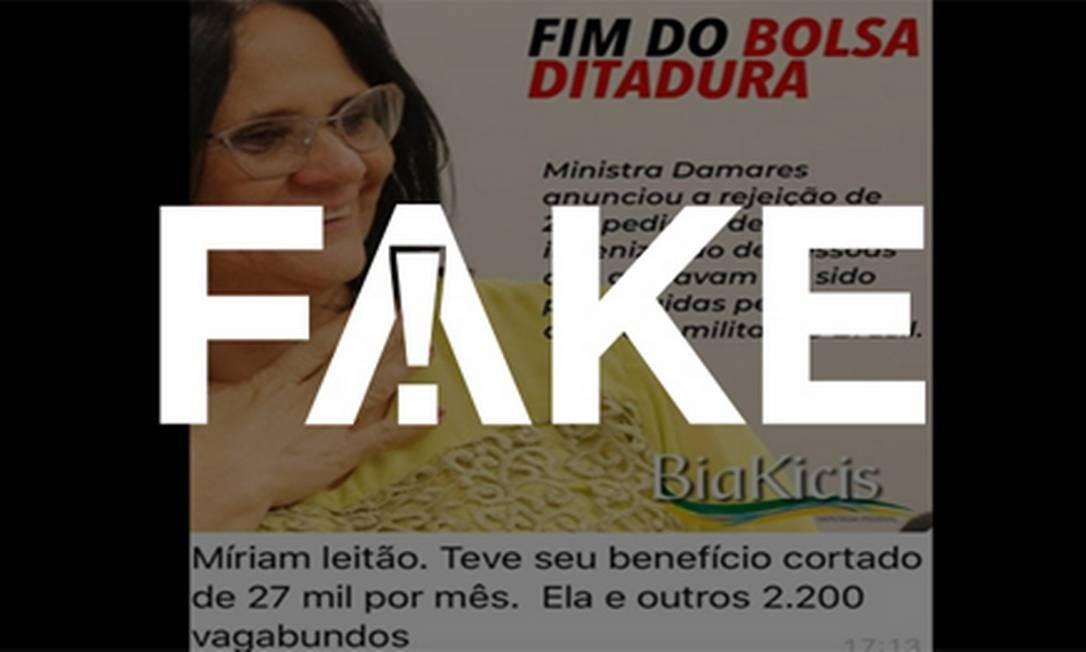 É #FAKE que Míriam Leitão recebe anistia e teve benefício de R$ 27 mil cortado Foto: Reprodução
