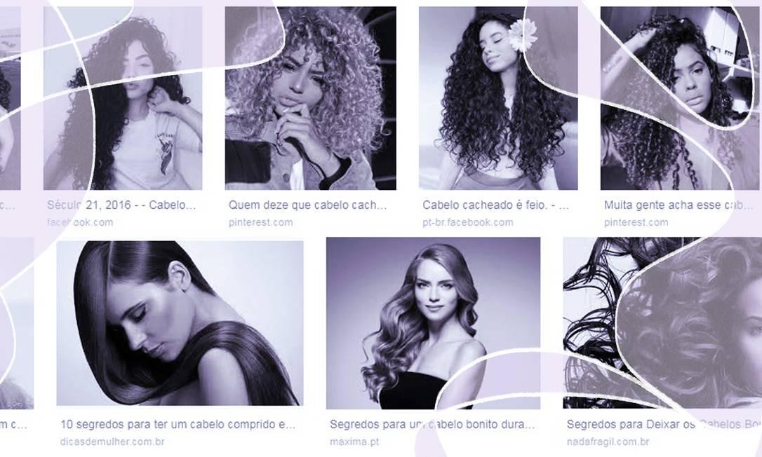 Resultados da busca de imagem do Google para cabelos Foto: Arte sobre Reprodução/Internet